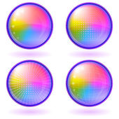 Icons buttons rainbow, set, round — Stock Vector
