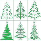 Christmas trees, set — Stock Vector