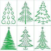 Julgranar, ställa in — Stockvektor
