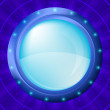 Glass porthole on blue background — Stock Photo