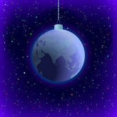 Christmas background, Earth in space — Cтоковый вектор