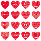 Valentine hearts, smileys, set — Stock vektor