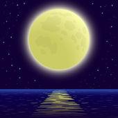 Moon over sea — Stock Vector