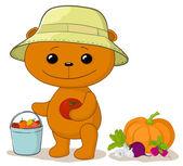 Teddy bear gardener with vegetables — Stock Vector