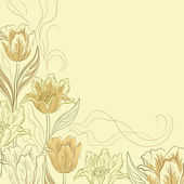 Flowers tulips on a light brown — Stock Photo