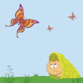 Slak en vlinders — Stockvector
