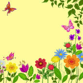 Flowers, butterflies and leaves — Stock Photo