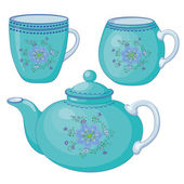 Teapot and cups — Stock Vector