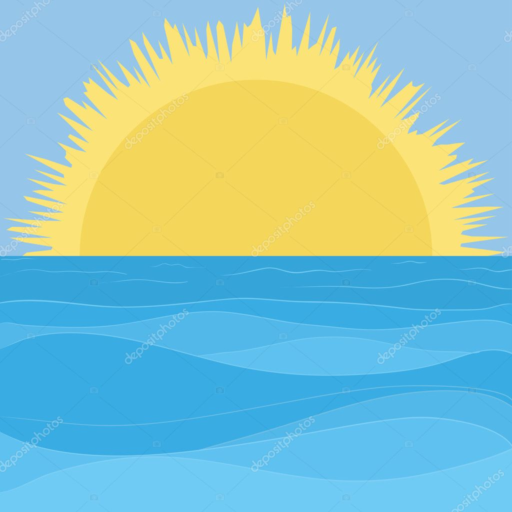 Vector landscape: blue sea and sky and yellow sun — Stock Vector #6821588