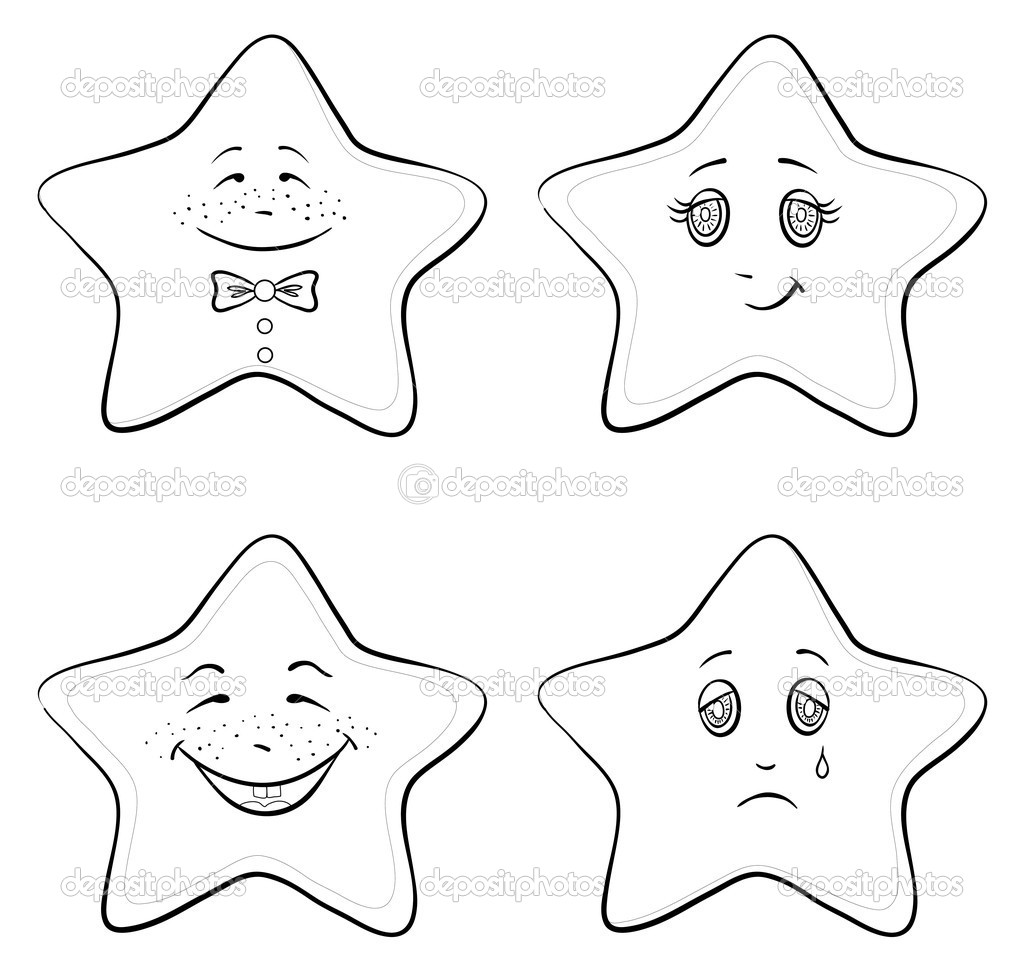 Vector, set of the stars smilies symbolising various human emotions, contours — Stock Vector #6835022