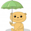 Teddy bear under the umbrella — Stock Photo