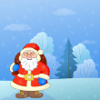 Santa Claus in a winter forest - Stock Photo