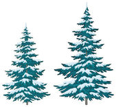 Christmas trees under snow — Stock Vector