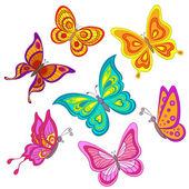 Impostare le farfalle — Vettoriale Stock