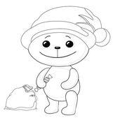Teddy bear Santa Claus, contours — Stock Photo