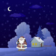 Santa Claus in a winter forest — Foto de Stock