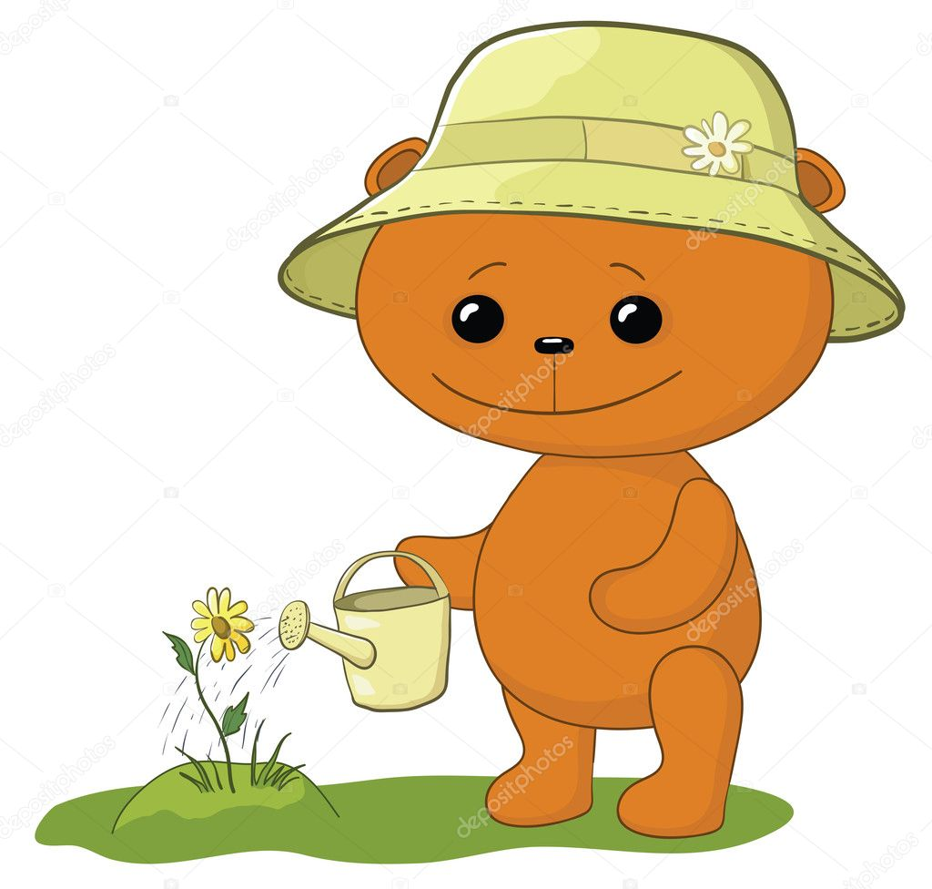 Teddy bear gardener waters a bed with a flower from a watering can — Stock Photo #6967719