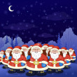 Santa Claus army in a night winter forest — Stock Photo