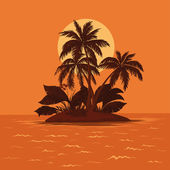 Island with palm and sun — Stock Photo