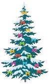 Albero di natale con ornamenti — Vettoriale Stock