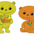 Teddy bears with fruits and flower — Stock Photo