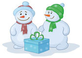 Snowmens with gift box — Stock Vector