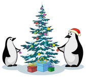 Penguins and Christmas tree — Stok Vektör