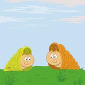 Snails meet in the meadow — Stock Vector