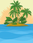 Island with palm and sun — Stock vektor