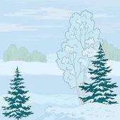 Зимний пейзаж. Дерево на берегу — Cтоковый вектор