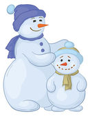 Snowmens mother and son — Stock Vector