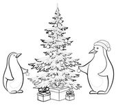 Penguins and Christmas tree, contours — Stok Vektör