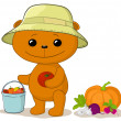 Teddy bear gardener with vegetables - Stock Photo
