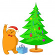 Teddy bear and Christmas tree — 图库照片