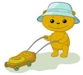 Teddy bear lawnmower — 图库照片