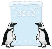 Emperor penguins with poster 2012 — Stock Vector