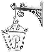 Antique lantern, contour — Stock Vector