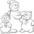 Snowmens mother and children, contours - Stock Vector