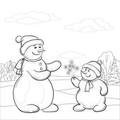 Snowmen son gives mom snowy flowers, contours — Stock Vector