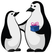 Penguins with a gift box — Vector de stock