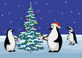 Penguins and Christmas tree — Stock Vector