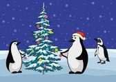 Penguenler ve Noel ağacı — Stok Vektör