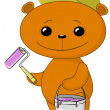 Teddy bear house painter — Stockfoto #7401541