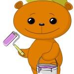 Teddy bear house painter — Stock Photo