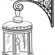 Antique lantern, contour — Vector de stock