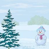 Снеговик и Рождественская елка — Cтоковый вектор