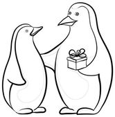 Penguins with a gift box, contours — Vettoriale Stock