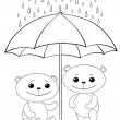 Teddy bears and umbrella, contours - Stock Photo