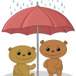 Stock Photo: Teddy bears and umbrella