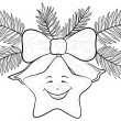 Christmas star - smiley, contours — Stockfoto